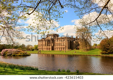 STOCKPORT, ENGLAND -  MAY 14, 2016: Lyme Hall historic English Stately Home and park in Cheshire, England. - stock photo
