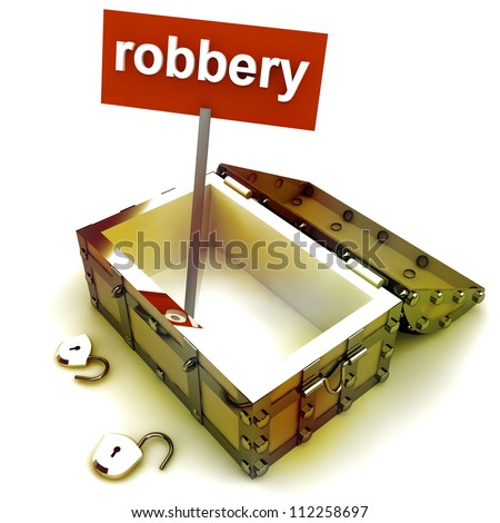 Stolen treasure from opened  antique chest render illustration - stock photo