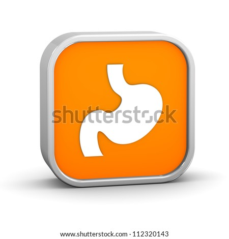 Stomach sign on a white background. Part of a series. - stock photo