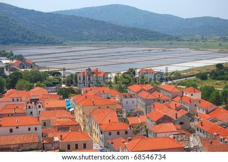 Ston on Peljesac peninsula, Croatia - stock photo