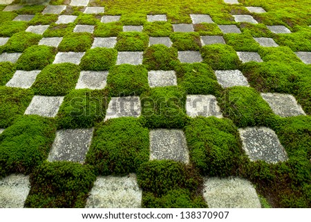 Stone and Moss form a famous pattern of squares at the zen gardens of Tofukuji in Kyoto, Japan - stock photo