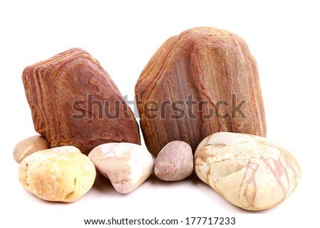 stone and rock isolated on white background - stock photo