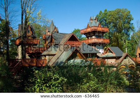 Stone and Wood Mountain Chalet - stock photo