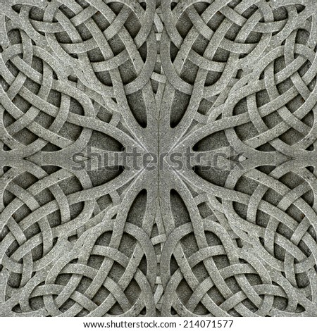 Stone arabesque photo manipulated digital art pattern background in gray tones. - stock photo