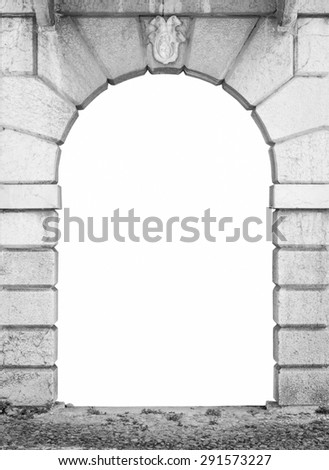 stone arch of an italian palace white isolated - stock photo