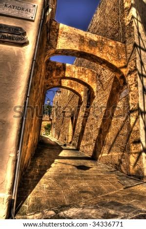 Stone Archways in Mdina - stock photo