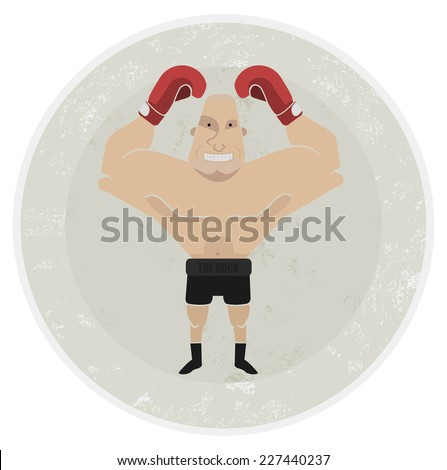 Stone athletic emblem with huge, bald heavyweight boxer - stock photo