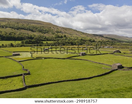 Stone barns in hay meadows with blue sky and clouds, Gunnerside, Swaledale, horizontal - stock photo