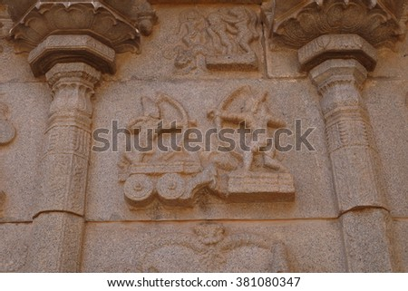Stone bas-reliefs in Hindu temples of Hampi in India - stock photo