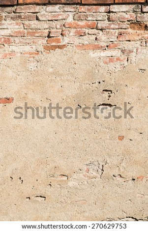 Stone Brick And Concrete Wall Background Texture - stock photo