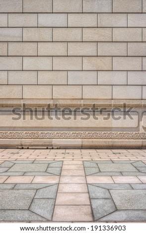 Stone brick wall and floor design - stock photo
