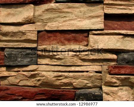 stone brick wall pattern 5 - stock photo