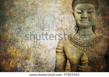 stone  Buddha warrior  statue ayutthaya - stock photo