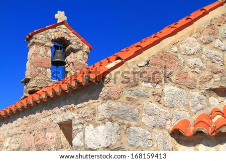 Stone building of orthodox monastery from the Adriatic sea area - stock photo