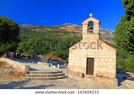 Stone building of orthodox monastery near the Mediterranean sea - stock photo