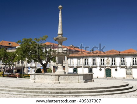 Stone carved water fountain in the heart of the Republic Aquare in Vila do Conde, portugal - stock photo