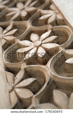 Stone carving detail - India - stock photo