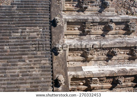 Stone carvings of Ciudadela in Teotihuacan archaeological site near Mexico City - stock photo