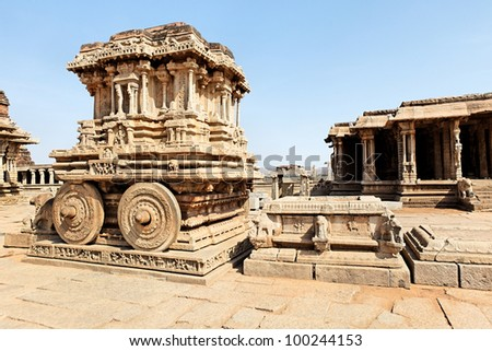 Stone chariot in the templeof Hampi town - stock photo