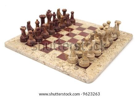 Stone Chess Set isolated - stock photo