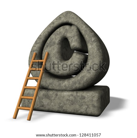 stone copyright symbol and ladder on white background - 3d illustration - stock photo