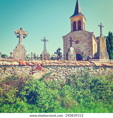 Stone Crosses in French Catholic Cemetery, Vintage Style Toned Picture - stock photo
