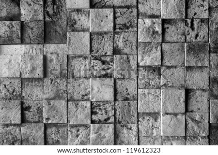 Stone cubes, black and white - stock photo