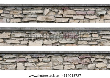 Stone fence panorama, panoramic stonewall, isolated limestone dolomite hard slate slab rock texture, seamless stickable lined textured natural narrow brick wall, beige, grey, yellow, reddish, gray red - stock photo