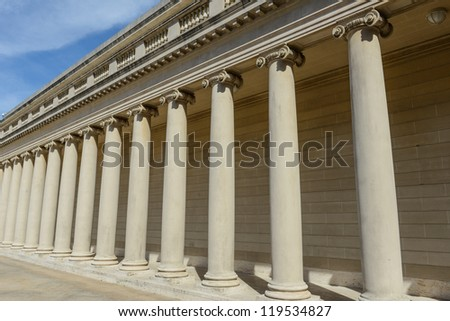 Stone Foundation Pillars in a Row - stock photo