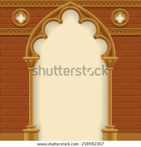 Stone gothic arch and wall. Antique architecture frame.  - stock photo