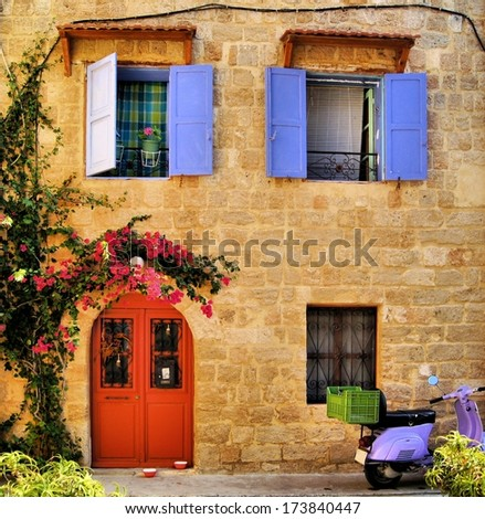 Stone house in the Old Town of Rhodes, Greece - stock photo