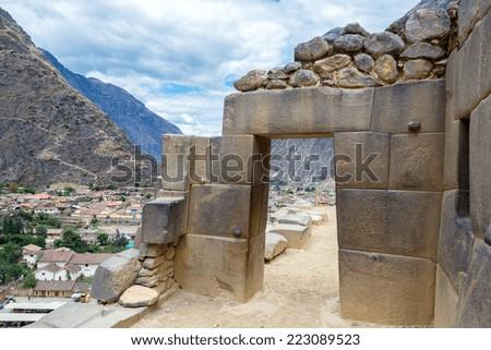 Stone Inca doorway in the ruins of Ollantaytambo, Peru - stock photo