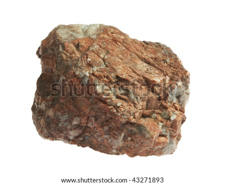 stone isolated on white background,Granite(in my portfolio have more photos of stones) - stock photo