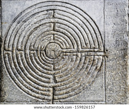 Stone labyrinth - stock photo