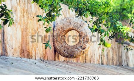 Stone Mayan hoop, Quintana Roo, Mexico - stock photo