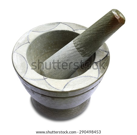 Stone mortar and pestle on white background - stock photo