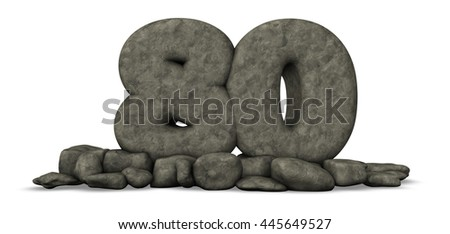 stone number eighty on white background - 3d rendering - stock photo