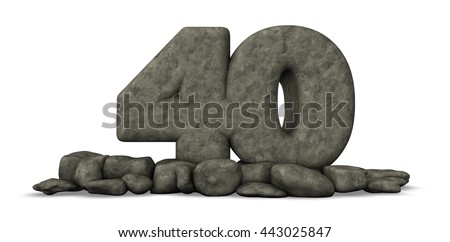stone number forty on white background - 3d rendering - stock photo