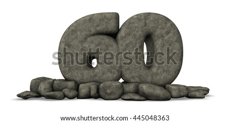 stone number sixty on white background - 3d rendering - stock photo