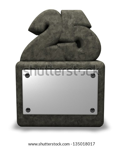 stone number twenty five on socket - 3d illustration - stock photo