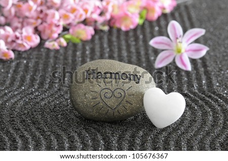 stone of harmony in zen garden - stock photo