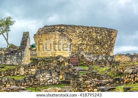 Stone of the ancient ruins of the fortress city of Kuelap, Peru - stock photo
