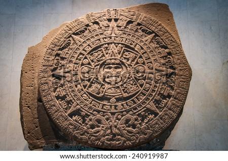 Stone of the sun - the Mayan calendar - stock photo