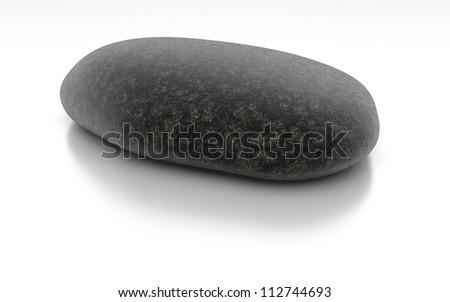 Stone on White Sea - Isolated Object on Background - stock photo