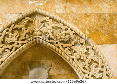 stone oriental  tracery - stock photo
