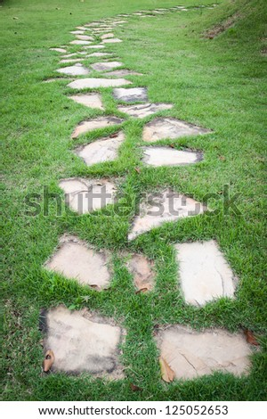 Stone path on green grass - stock photo