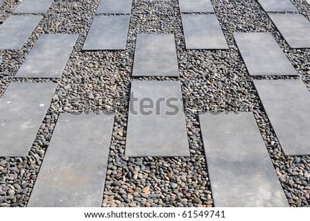 Stone Path on pebbly - stock photo