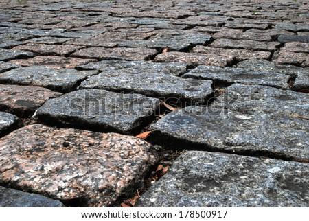 stone pavement on the street - stock photo