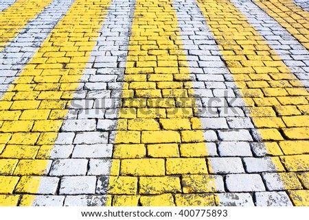 Stone pavement texture with pedestrian crossing, Moscow, Russia, Red Square - stock photo