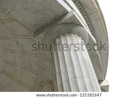 Stone Pillar and Dome on White - stock photo